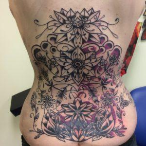 Work in progress back piece flower